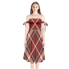 Tartan Scotland Seamless Plaid Pattern Vector Retro Background Fabric Vintage Check Color Square Shoulder Tie Bardot Midi Dress