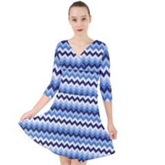 Zigzag Pattern Seamless Zig Zag Background Color Quarter Sleeve Front Wrap Dress