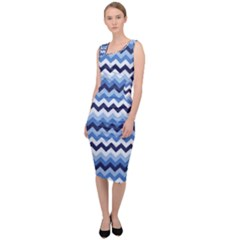 Zigzag Pattern Seamless Zig Zag Background Color Sleeveless Pencil Dress