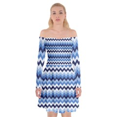 Zigzag Pattern Seamless Zig Zag Background Color Off Shoulder Skater Dress