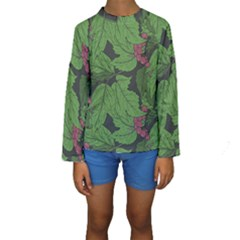 Seamless Pattern With Hand Drawn Guelder Rose Branches Kids  Long Sleeve Swimwear by BangZart