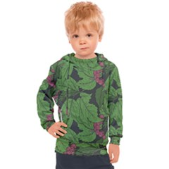 Seamless Pattern With Hand Drawn Guelder Rose Branches Kids  Hooded Pullover
