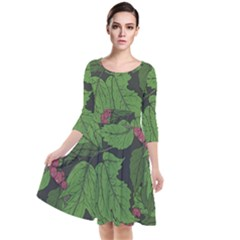 Seamless Pattern With Hand Drawn Guelder Rose Branches Quarter Sleeve Waist Band Dress