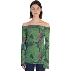 Seamless Pattern With Hand Drawn Guelder Rose Branches Off Shoulder Long Sleeve Top