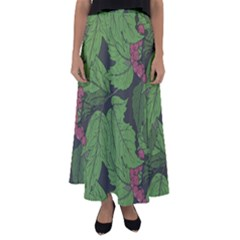 Seamless Pattern With Hand Drawn Guelder Rose Branches Flared Maxi Skirt