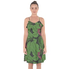 Seamless Pattern With Hand Drawn Guelder Rose Branches Ruffle Detail Chiffon Dress