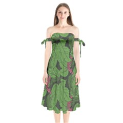 Seamless Pattern With Hand Drawn Guelder Rose Branches Shoulder Tie Bardot Midi Dress