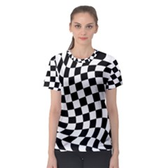 Weaving Racing Flag, Black And White Chess Pattern Women s Sport Mesh Tee