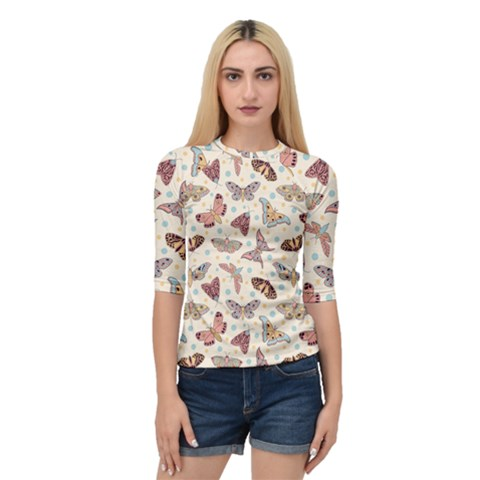 Pattern With Butterflies Moths Quarter Sleeve Raglan Tee by BangZart