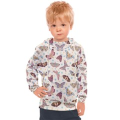 Pattern With Butterflies Moths Kids  Hooded Pullover