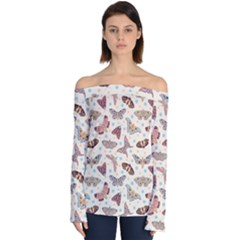 Pattern With Butterflies Moths Off Shoulder Long Sleeve Top