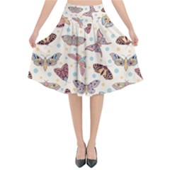 Pattern With Butterflies Moths Flared Midi Skirt