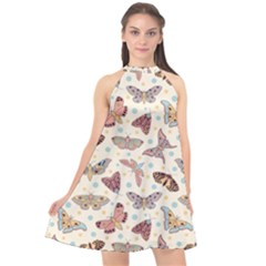 Pattern With Butterflies Moths Halter Neckline Chiffon Dress
