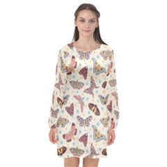 Pattern With Butterflies Moths Long Sleeve Chiffon Shift Dress
