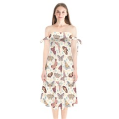 Pattern With Butterflies Moths Shoulder Tie Bardot Midi Dress
