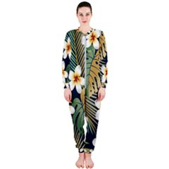 Seamless Pattern With Tropical Flowers Leaves Exotic Background Onepiece Jumpsuit (ladies)
