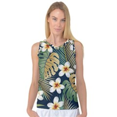 Seamless Pattern With Tropical Flowers Leaves Exotic Background Women s Basketball Tank Top