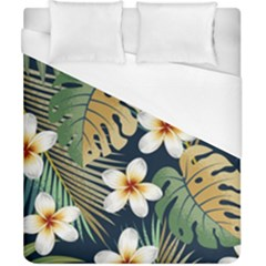 Seamless Pattern With Tropical Flowers Leaves Exotic Background Duvet Cover (california King Size)