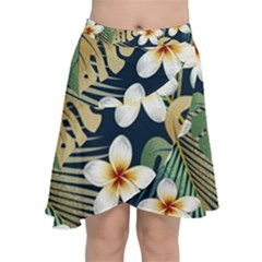 Seamless Pattern With Tropical Flowers Leaves Exotic Background Chiffon Wrap Front Skirt