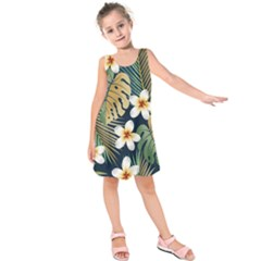 Seamless Pattern With Tropical Flowers Leaves Exotic Background Kids  Sleeveless Dress by BangZart