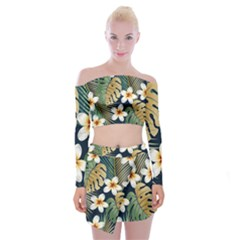 Seamless Pattern With Tropical Flowers Leaves Exotic Background Off Shoulder Top With Mini Skirt Set