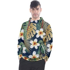 Seamless Pattern With Tropical Flowers Leaves Exotic Background Men s Pullover Hoodie