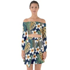 Seamless Pattern With Tropical Flowers Leaves Exotic Background Off Shoulder Top With Skirt Set
