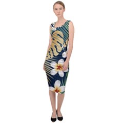 Seamless Pattern With Tropical Flowers Leaves Exotic Background Sleeveless Pencil Dress