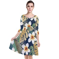 Seamless Pattern With Tropical Flowers Leaves Exotic Background Quarter Sleeve Waist Band Dress