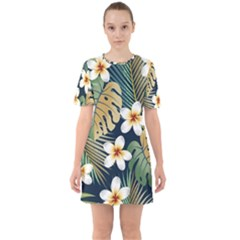 Seamless Pattern With Tropical Flowers Leaves Exotic Background Sixties Short Sleeve Mini Dress