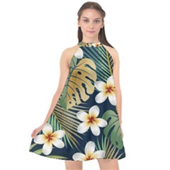 Seamless Pattern With Tropical Flowers Leaves Exotic Background Halter Neckline Chiffon Dress
