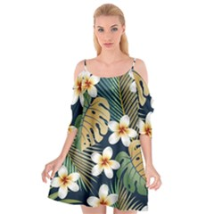 Seamless Pattern With Tropical Flowers Leaves Exotic Background Cutout Spaghetti Strap Chiffon Dress