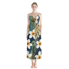 Seamless Pattern With Tropical Flowers Leaves Exotic Background Button Up Chiffon Maxi Dress