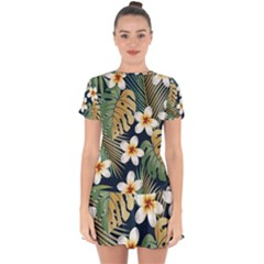 Seamless Pattern With Tropical Flowers Leaves Exotic Background Drop Hem Mini Chiffon Dress