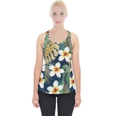 Seamless Pattern With Tropical Flowers Leaves Exotic Background Piece Up Tank Top