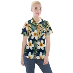 Seamless Pattern With Tropical Flowers Leaves Exotic Background Women s Short Sleeve Pocket Shirt