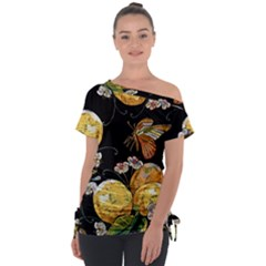 Embroidery Blossoming Lemons Butterfly Seamless Pattern Tie-up Tee