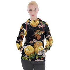 Embroidery Blossoming Lemons Butterfly Seamless Pattern Women s Hooded Pullover