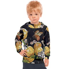 Embroidery Blossoming Lemons Butterfly Seamless Pattern Kids  Hooded Pullover