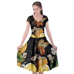Embroidery Blossoming Lemons Butterfly Seamless Pattern Cap Sleeve Wrap Front Dress