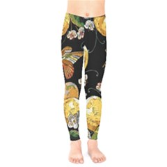 Embroidery Blossoming Lemons Butterfly Seamless Pattern Kids  Leggings