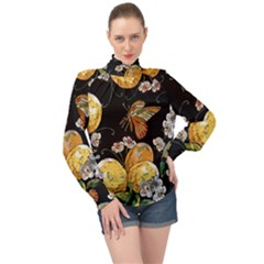 Embroidery Blossoming Lemons Butterfly Seamless Pattern High Neck Long Sleeve Chiffon Top by BangZart