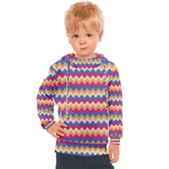 Zigzag Pattern Seamless Zig Zag Background Color Kids  Hooded Pullover
