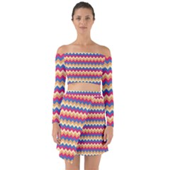 Zigzag Pattern Seamless Zig Zag Background Color Off Shoulder Top With Skirt Set