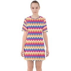 Zigzag Pattern Seamless Zig Zag Background Color Sixties Short Sleeve Mini Dress