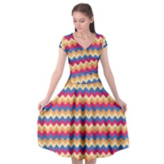 Zigzag Pattern Seamless Zig Zag Background Color Cap Sleeve Wrap Front Dress