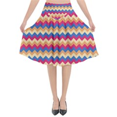 Zigzag Pattern Seamless Zig Zag Background Color Flared Midi Skirt