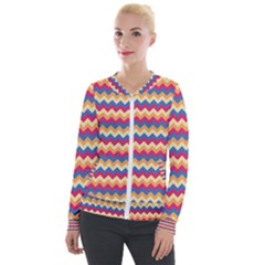 Zigzag Pattern Seamless Zig Zag Background Color Velour Zip Up Jacket