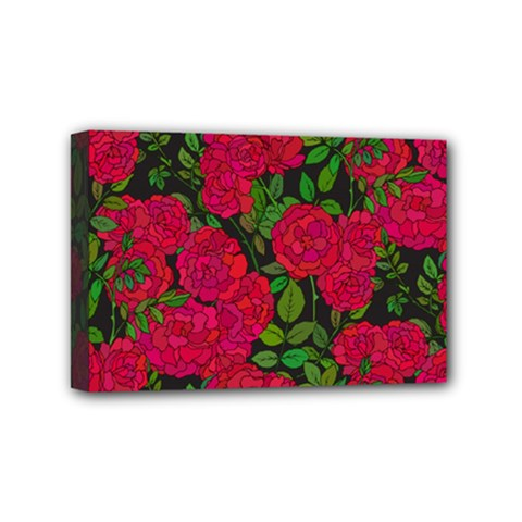Seamless Pattern With Colorful Bush Roses Mini Canvas 6  X 4  (stretched) by BangZart