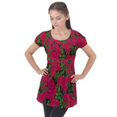 Seamless Pattern With Colorful Bush Roses Puff Sleeve Tunic Top